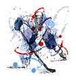 Colored hand sketch hockey player vector image