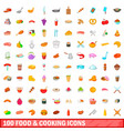 100 food and cooking icons set cartoon style vector image