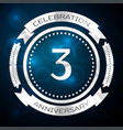 three years anniversary celebration with silver vector image