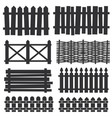 country wooden fences palisade silhouettes vector image