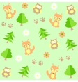 background with owls and foxes vector image vector image