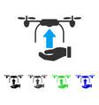 Send drone hand flat icon vector image