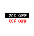 20 off rubber stamp badge with typewriter set vector image