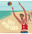 People playing ball on the beach vector image