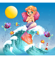 A happy mermaid above the sea waves vector image