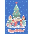 Big happy family with Christmas gifts in hands vector image