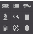 black natural gas icons set vector image