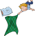 boy with a blanket and a pillow vector image