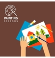 Kids painting lessons vector image
