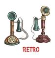 Old vintage retro phones color sketch vector image