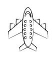 sketch draw airplane cartoon vector image