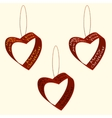 Spruce decorations of hearts ribbons Christmas and vector image