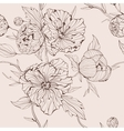 Sepia seamless background with peony vector image