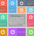 Sun icon sign Set of multicolored buttons Metro vector image