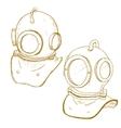 Retro diving suit helmet vector image