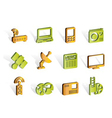 business and technology icons vector image vector image