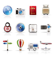 realistic vacation and travel icons vector image