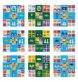 Set of flat web icons with long shadow winter vector image