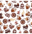 Brown coffee retro seamless pattern vector image vector image