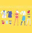 blonde woman and set of diverse clothes vector image