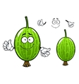 Cartoon green gooseberry fruit character vector image