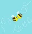 flying bee kissing couple in the sky cute cartoon vector image