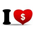 I love dollar vector image