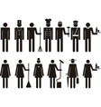 Set of icons of figure people job occupation vector image