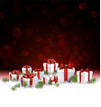Red New Year background with gifts vector image