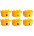 Six golden crowns vector image vector image