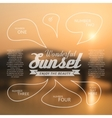 Wonderful sunset text lettering and infographics vector image