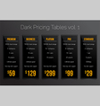 Dark pricing tables- set of price banner templates vector image