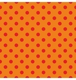 Tile pattern red polka dots on orange background vector image