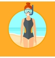 Female scuba diver on the beach vector image