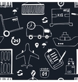 Hand drawn logistics and delivery sketch seamless vector image