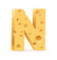 cheese font n letter on white vector image