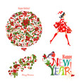 christmas fashion collection of floral patterns vector image