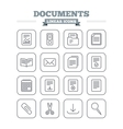 Documents linear icons set Thin outline signs vector image