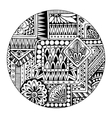 Ethnic tribal pattern in circle Black and white vector image
