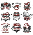 set of meat store labels butchery design elements vector image