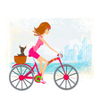 woman riding a bike in the city vector image