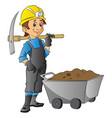 worker holding pickaxe next to wheelbarrow full vector image