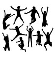 Happy Jumping Kid and Family Silhouettes vector image