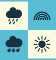 nature icons set collection of sun douche vector image