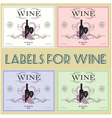 set of labels for wine with bunch grapes and barre vector image