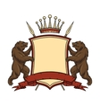 Heraldic logo element Bears with shield and vector image vector image