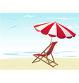 beach chairs and umbrella vector image