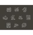 White line car insurance icons set vector image