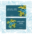 Two cards with underwater stations and text vector image