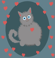 small gray kitten on Valentines Day vector image
